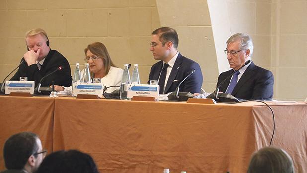 Top speakers: Mr Martikainen, former President Marie-Louise Coleiro Preca, Dr Azzopardi and European Commissioner for Maritime Affairs and Fisheries Karmenu Vella. Photos: Charles Spiteri