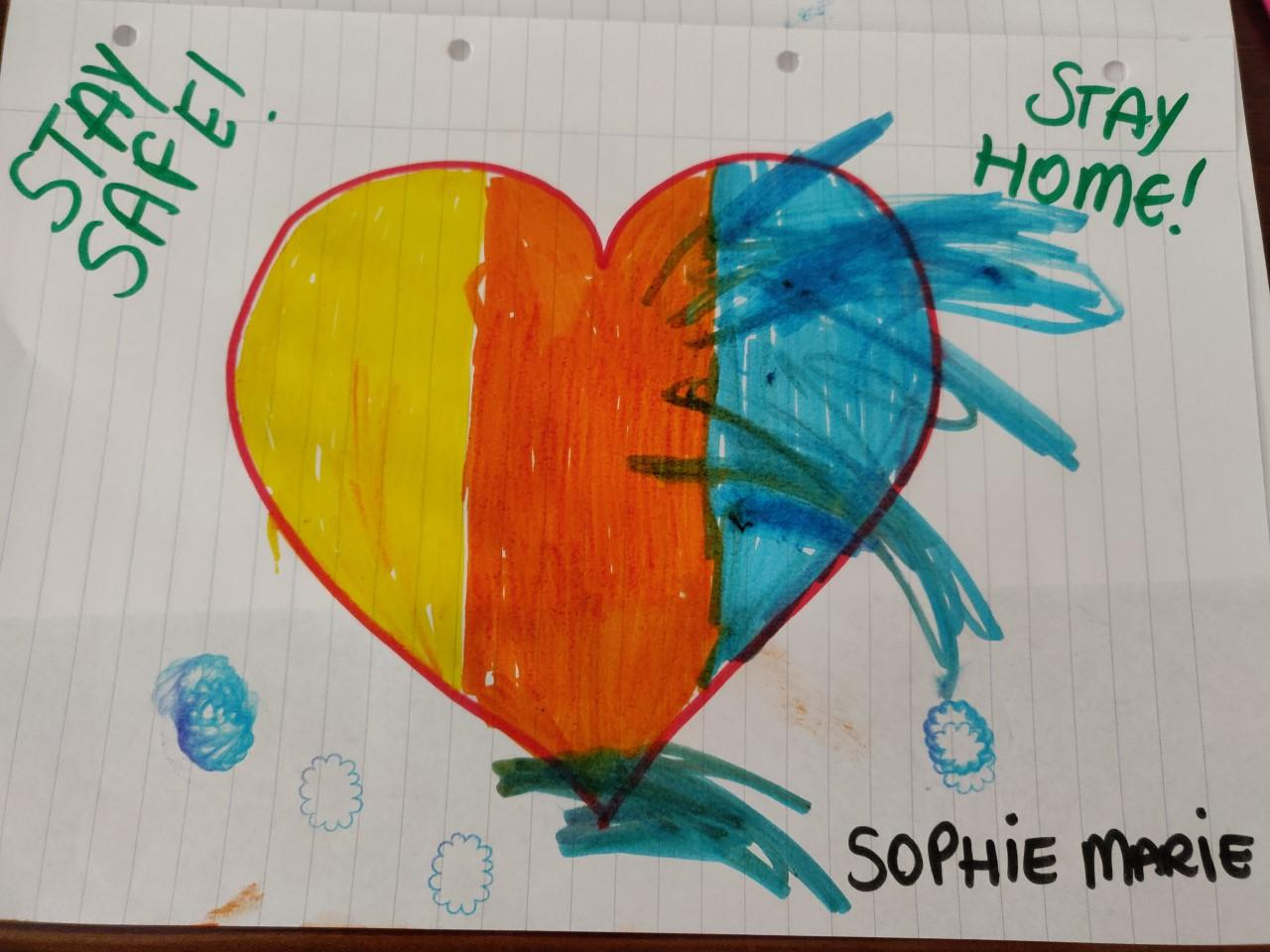 Sophie Marie (2) wants everyone to stay safe at home.