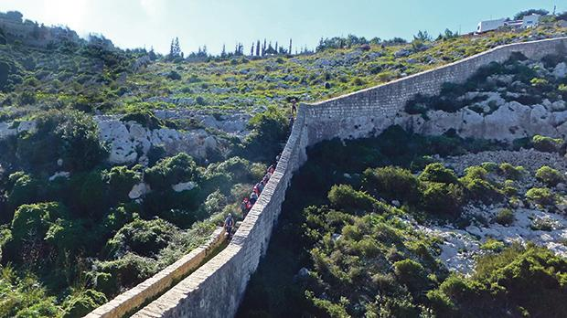 The Lines were construed as a defensive wall to protect the island from a high vantage point through a natural fault from coast to coast. Photos: Mary Attard