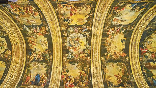 Panorama of Mattia Preti's paintings on the vault in St John's Co-Cathedral. Photos: eFesenko/Shutterstock.com
