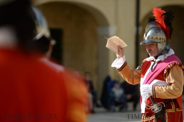 Re-enactors perform at the In Guardia parade at Fort St Elmo in Valletta on February 12. . Photo: Matthew Mirabelli