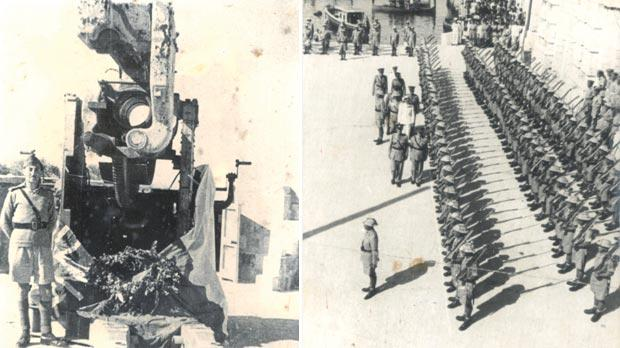 Lieutenant G. Amato-Gauci standing next to a 4.5-inch gun at St Peter's Heavy Anti-Aircraft position that had been badly damaged by a direct hit. Right: His Majesty King George VI (centre) inspecting an RMA guard of honour in June 1943.