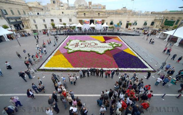 A floral carpet installation, or infioriata, made up of some 80,000 potted plants, set up at St George's Square in Valletta on May 6 as part of the Valletta Green Festival. Photo: Matthew Mirabelli