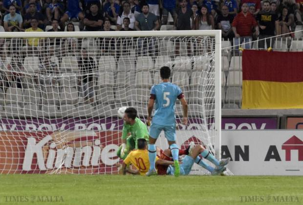 Birkirkara's Fabrizio Miccoli (10) scores past West Ham goalkeeper Adrian during their UEFA Europa League qualifier at the National Stadium in Ta'Qali on 23 July. Photo: Mark Zammit Cordina