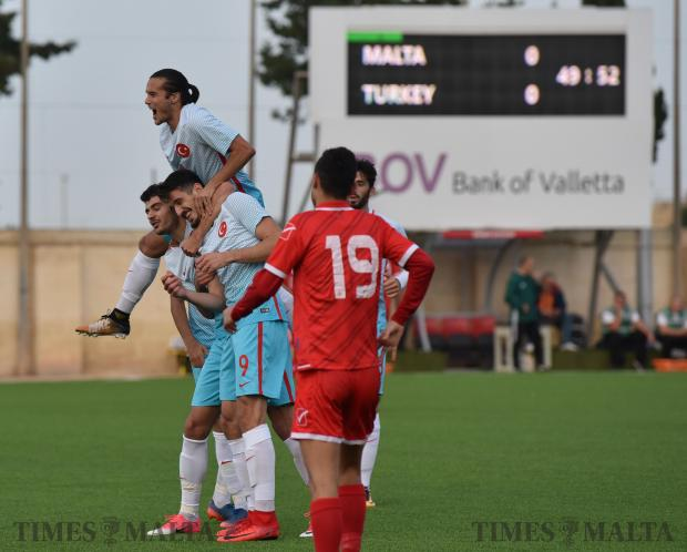 Turkish under 21 players celebrate their goal against Malta during the UEFA Championship qualifiers group round held at Centenary Stadium in Ta'Qali on November 10. Photo: Mark Zammit Cordina