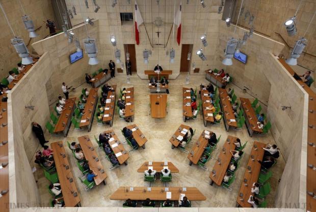 Schoolchildren take part in a debate in the parliamentary chamber at Parliament House in Valletta on May 27. Around 150 students from different schools took part in the annual activity EkoSkola, which gives students the opportunity to meet members of parliament and discuss their environmental concerns. Photo: Darrin Zammit Lupi