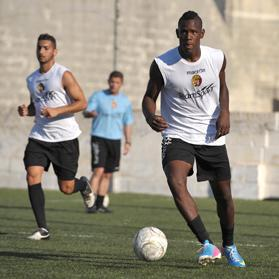 No, it's not football's bad boy Mario Balotelli. Baby brother Enoch Barwuah is pictured training with his new club Qormi yesterday. Photo: Matthew Mirabelli