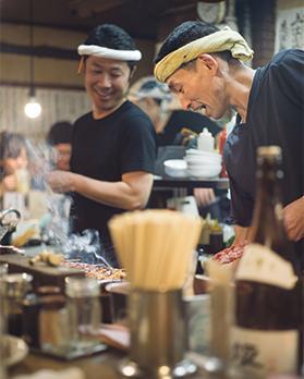 Yakitori chef at work in Shinjuku.