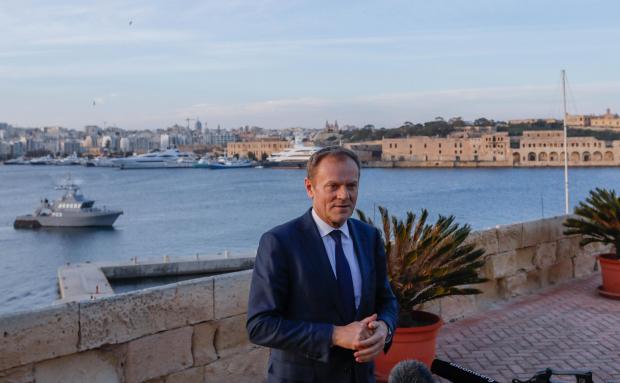 European Council President Donald Tusk addressing the media in Valletta yesterday.