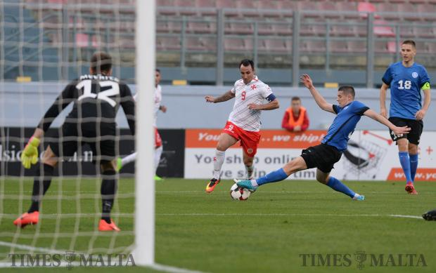 Malta's Michael Mifsud tries to make his way past the Estonian defence during their International friendly match at the National Stadium in Ta'Qali on November 12. Malta lost the match 3-0. Photo: Matthew Mirabelli