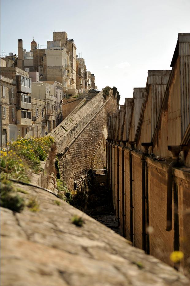 Old Dry docks sheds stand beside the Senglea bastions on January 3. Photo: Chris Sant Fournier