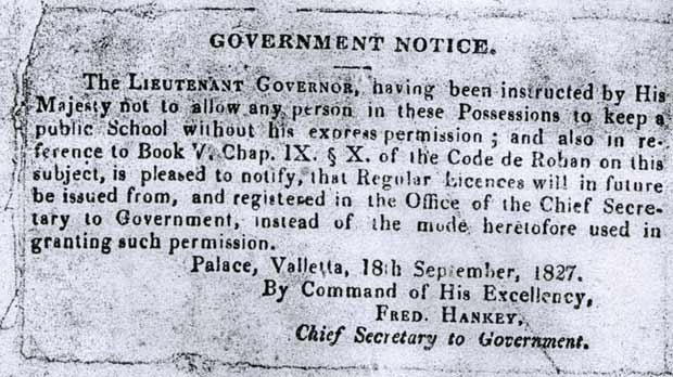 The government notice issued on September 18, 1827.