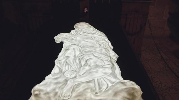 A low-relief translucent salt portrait of Michelangelo's Pietà is the star of the show.