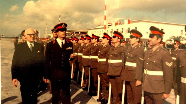Inspecting a guard of honour in May 1976. Photo: DOI