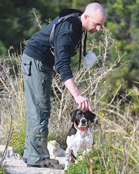Aki accompanies Mr Falzon on his daily, 90-minute walk.