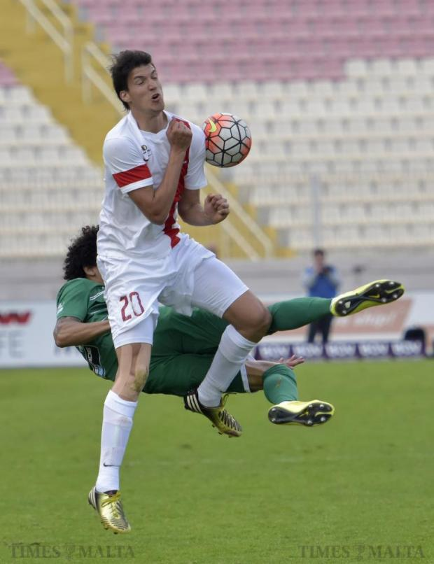 Valletta's Federico Falcone blocks a shot in mid-air during the Premier League derby match against Floriana at the National Stadium in Ta' Qali on April 9. Photo: Mark Zammit Cordina