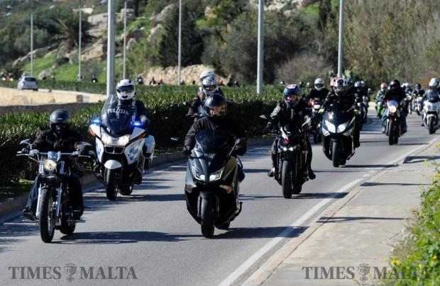 Hundreds of motorcycles take part in a memorial ride for fallen bikers killed in 2016 on January 8. Photo: Steve Zammit Lupi