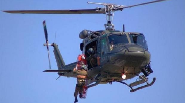 An Italian Military Mission AB-212 helicopter