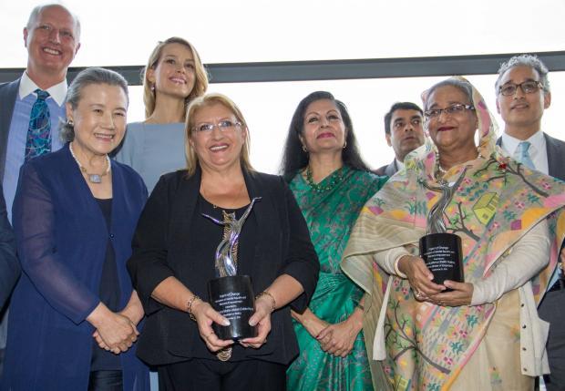 Ms Coleiro Preca with the other award recipients, Bangladeshi Prime Minister Sheikh Hasina and Ban Soon Taek.