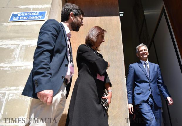 Nationalist Party and Opposition leader Simon Busuttil walks out from the back door moments after he took part in a political debate held at the University of Malta on May 17. Photo: Mark Zammit Cordina