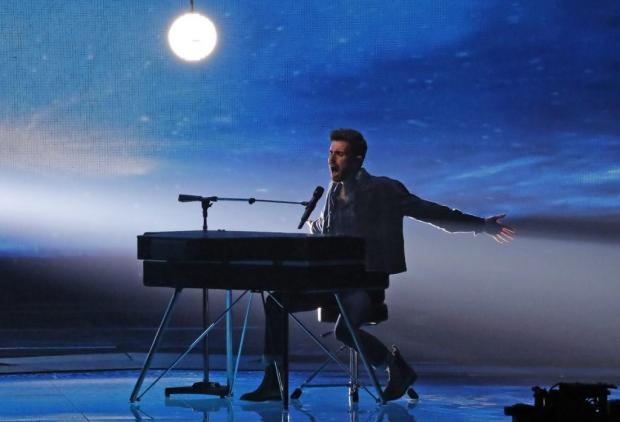 "Netherlands' Duncan Laurence performs the song ""Arcade"" during the Grand Final of the 64th edition."