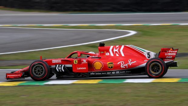 Ferrari's Sebastian Vettel in action during practice.