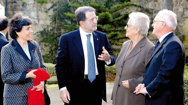 Romano Prodi and his wife Flavia at Verdala Palace with Eddie and Mary Fenech Adami during the official celebrations marking Malta's adoption of the euro in January 2008.