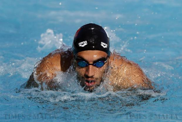 Olympian swimmer Andrew Chetcuti trains for the 2016 Olympic Games in Rio at the National Pool in Tal-Qroqq on August 2. Photo: Darrin Zammit Lupi