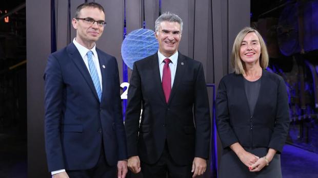 Estonian Foreign Minister Scen Mikser, Dr Abela and EU High Representative for Foreign Affairs Federica Mogherini. Photo: MHAS