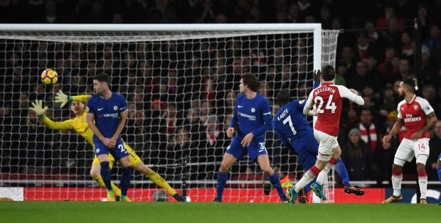 Arsenal's Hector Bellerin scores their second goal.