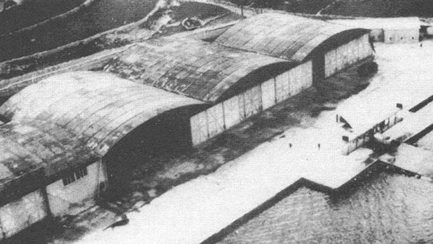 An aerial view of Kalafrana seaplane base in 1918, with a Felixstowe on the slip way.