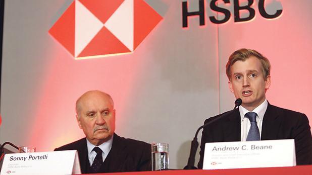 HSBC chairman Sonny Portelli (left) and CEO Andrew Beane. File photo.