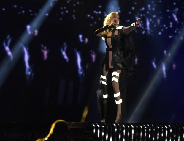 Poli Genova from Bulgaria performs her song If Love was a Crime in the final dress rehearsal of the Eurovision Song contest in Stockholm, Sweden, on May 13. Photo: Mark Zammit Cordina
