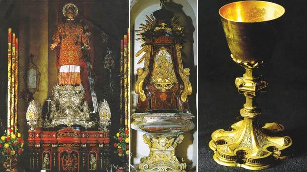 Left to right: Spanish tradition: The processional statue dressed in historic precious vestments. The baptismal font erected in 1741. An early-16th-century chalice previously used in the troglodytic church at St Angelo administered by the Vittoriosa parish.