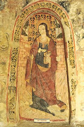 The crypt features 13 depictions of St Agatha.