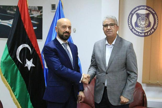 Neville Gafa pictured with Libyan Interior Minister Commissioner Fathi Pasha.