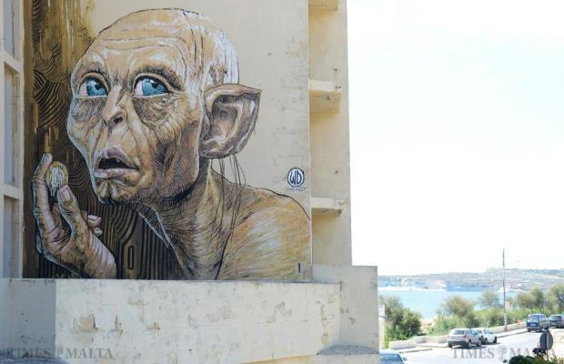 A mural of Gollum from Lord of the Rings covers an exterior wall of the abandoned Jerma Palace Hotel in Marsascala. Photo: Matthew Mirabelli