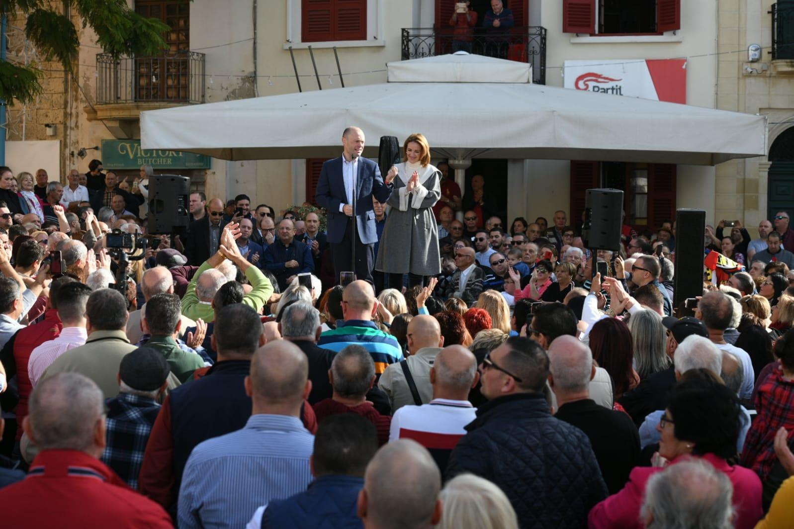Dr Muscat, accompanied by Mrs Muscat, addressing the Naxxar crowd. Photo: Matthew Mirabelli