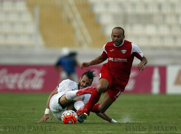 Floriana's Ignazio Varela (left) fouls Balzan's Anderson during their Premier League football match at the National Stadium in Ta' Qali on September 10. Photo: Darrin Zammit Lupi