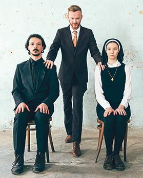 Joseph Zammit, Jonathan Dunn and Sandi Von Brockdorff in WhatsTheirNames Theatre's production of Measure for Measure.