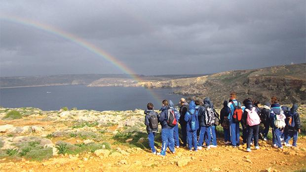 Schoolchildren during a guided tour of the park.
