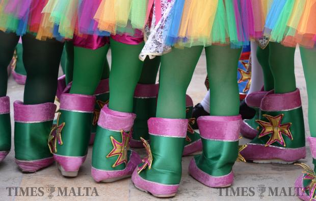 A group of young dancers prepare to go on stage at the Pjazza Teatru Rjal in Valletta on February 13 to celebrate Carnival. Photo: Matthew Mirabelli