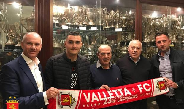 Albert Prosa (second left) unveiled as Valletta's new player.
