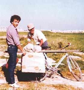 Michael Grima and his father-in-law with trapping equipment at a site in Qrendi (circa 1977).
