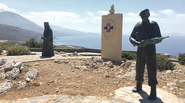 Memorial at Preveli marking the 1941 evacuations of Allied troops from the beach below.