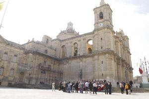 The visitors from Celano about to enter the Zejtun parish church.