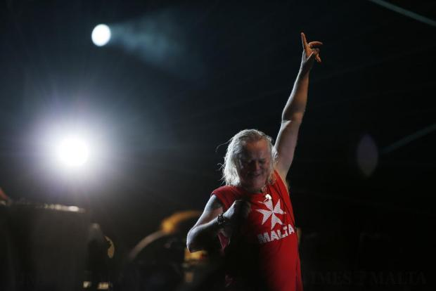 Lead vocalist Bernie Shaw of British legendary rock band Uriah Heep performs during their concert in Valletta on July 29. Photo: Darrin Zammit Lupi