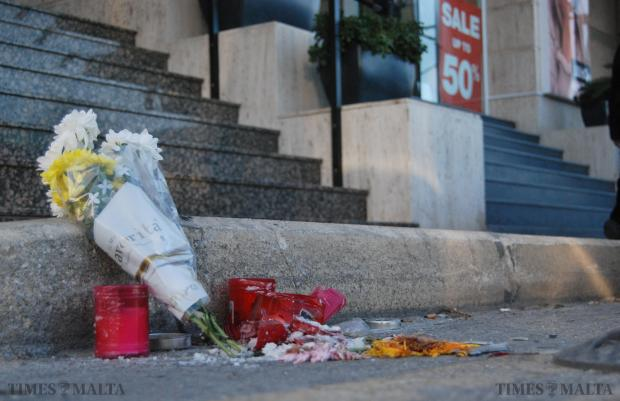 Flowers are laid on the scene a day after German tourist Rainer Madder died after being hit by a car in Sliema on January 13. Photo: Mark Zammit Cordina