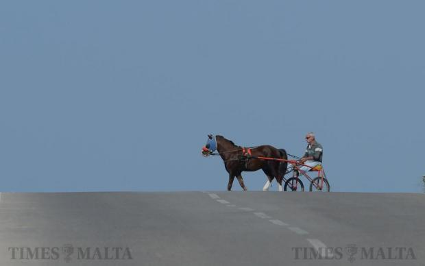 A man rides his horse across a deserted panoramic road near Dingli Cliffs on April 19. Photo: Matthew Mirabelli
