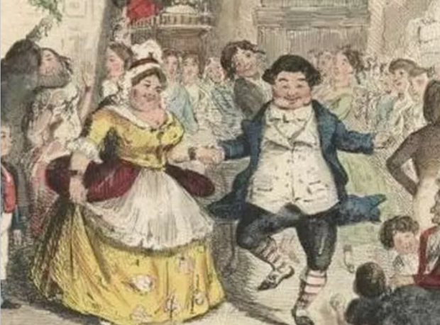 Mr. Fezziwig's Ball from A Christmas Carol by Charles Dickens. Hand colored etching by John Leech.